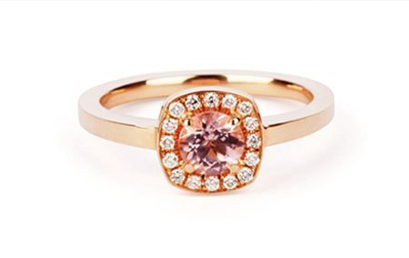 rose gold morganite halo engagement ring
