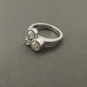 3 Stone Bezel Set Ring