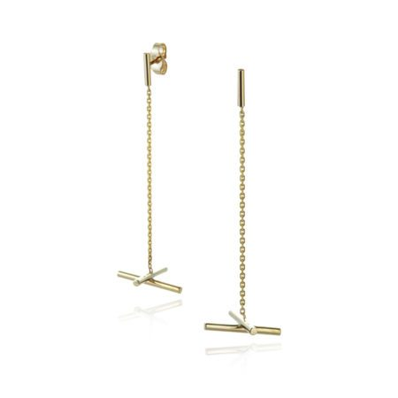 Yellow gold Chain drop crossover earrings - t bar