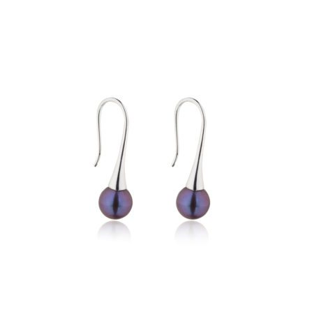 Delicate drop dark pearl earrings