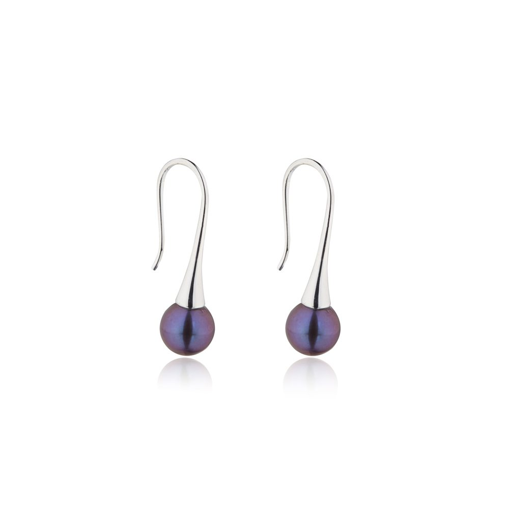 Delicate silver dark pearl drop earrings