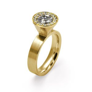 yellow gold large diamond cocktail ring
