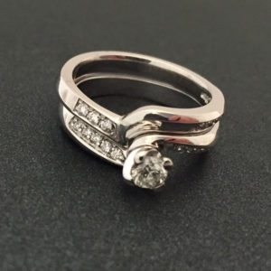 Twisted White Gold Solitaire Wedding Ring