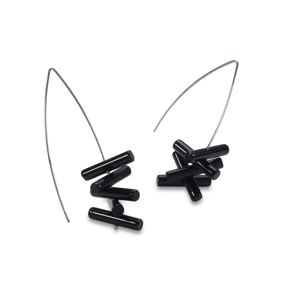 SIlver Black Onyx large statement drop earrings