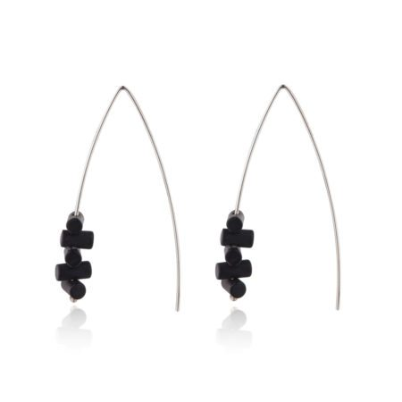 Silver Black Onyx fine statement drop earrings