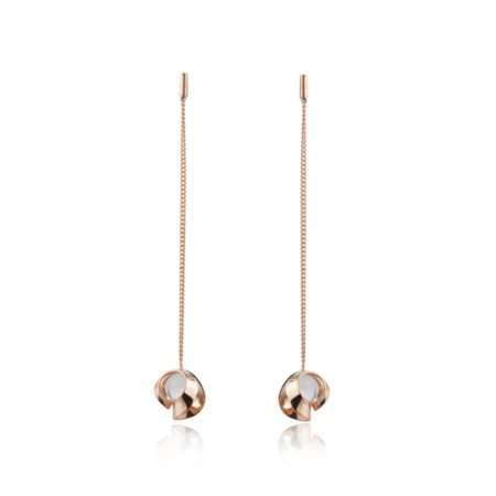 Rose gold and quartz long chain drop earrings
