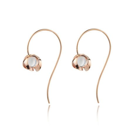 Rose gold and quartz drop earrings - medium