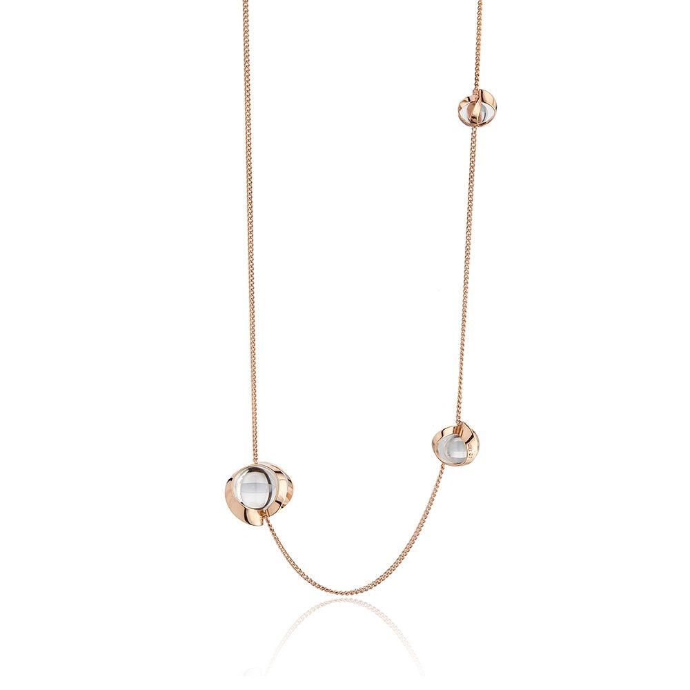 Rose gold and quartz long chain