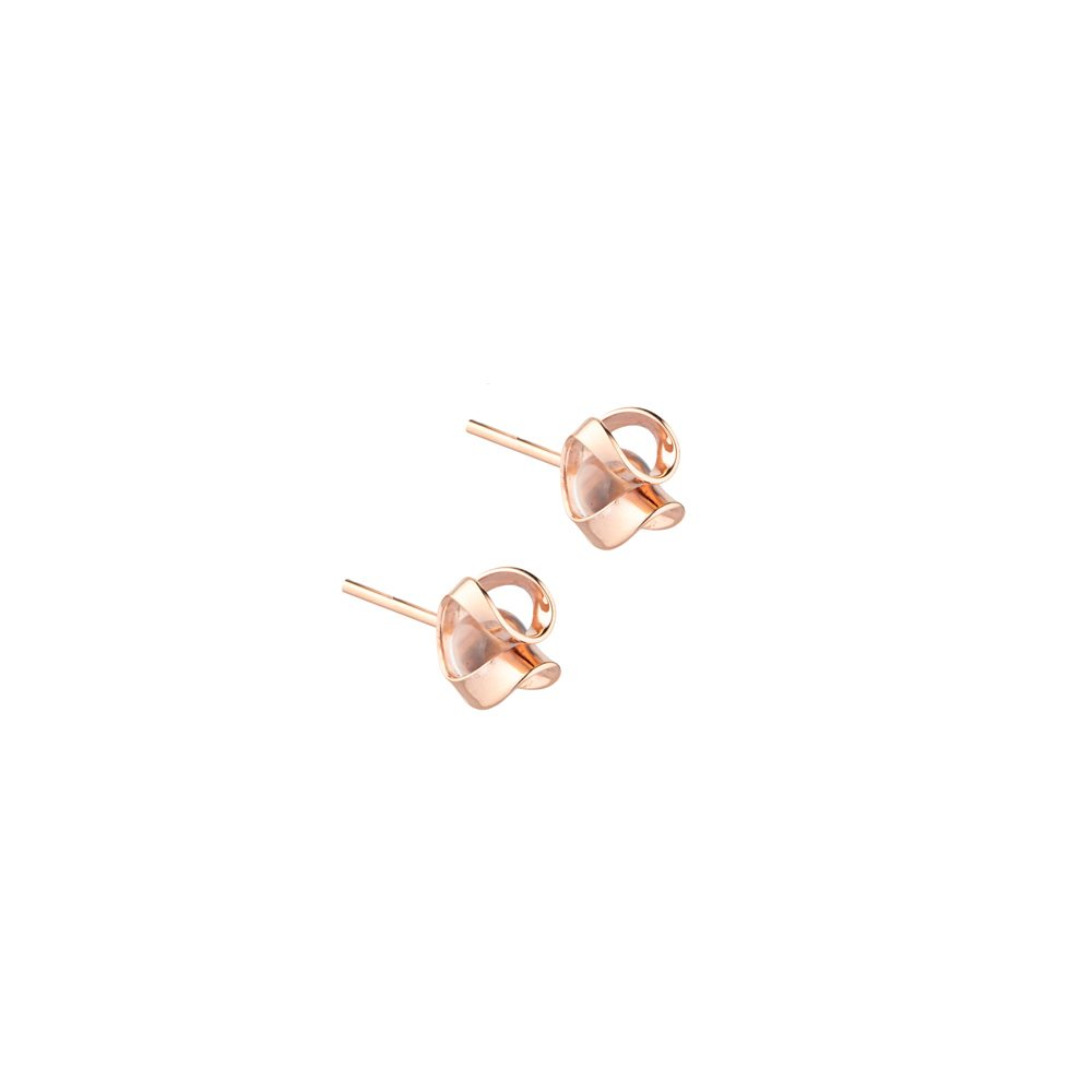 Rose gold and quartz stud earrings