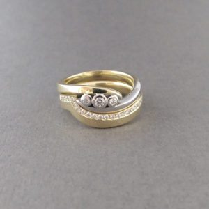Gold Silver 3 Stone Ring with Fitted Wedding Band