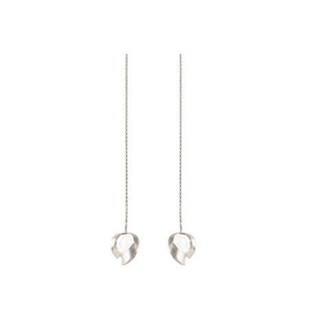 Silver and quartz drop chain earrings