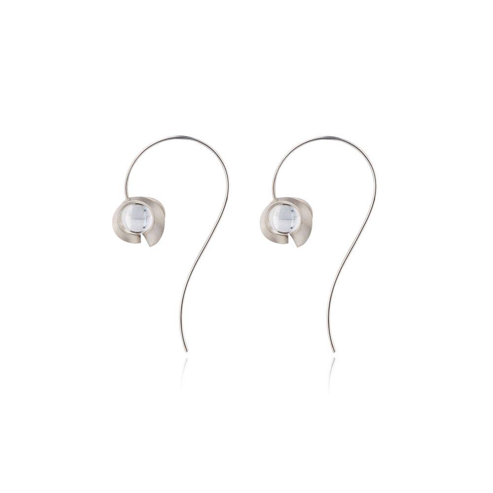 Silver and quartz drop earrings - medium