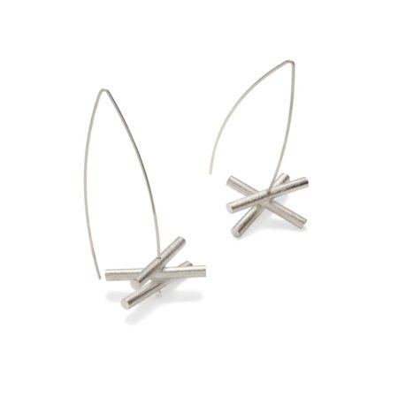 Silver dramatic drop earrings