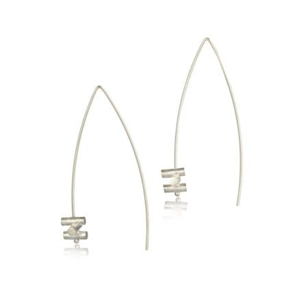 Silver fine dramatic statement drop earrings