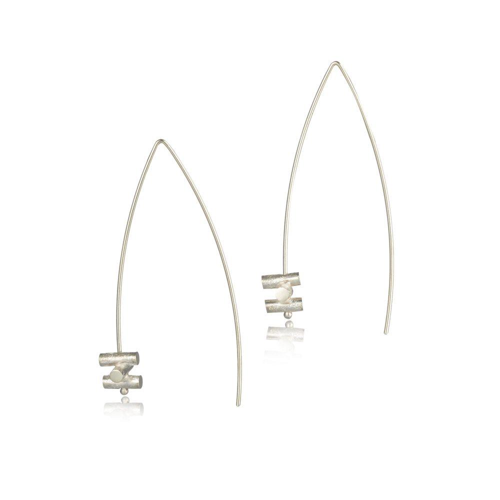 Silver fine dramatic statement drop earrings