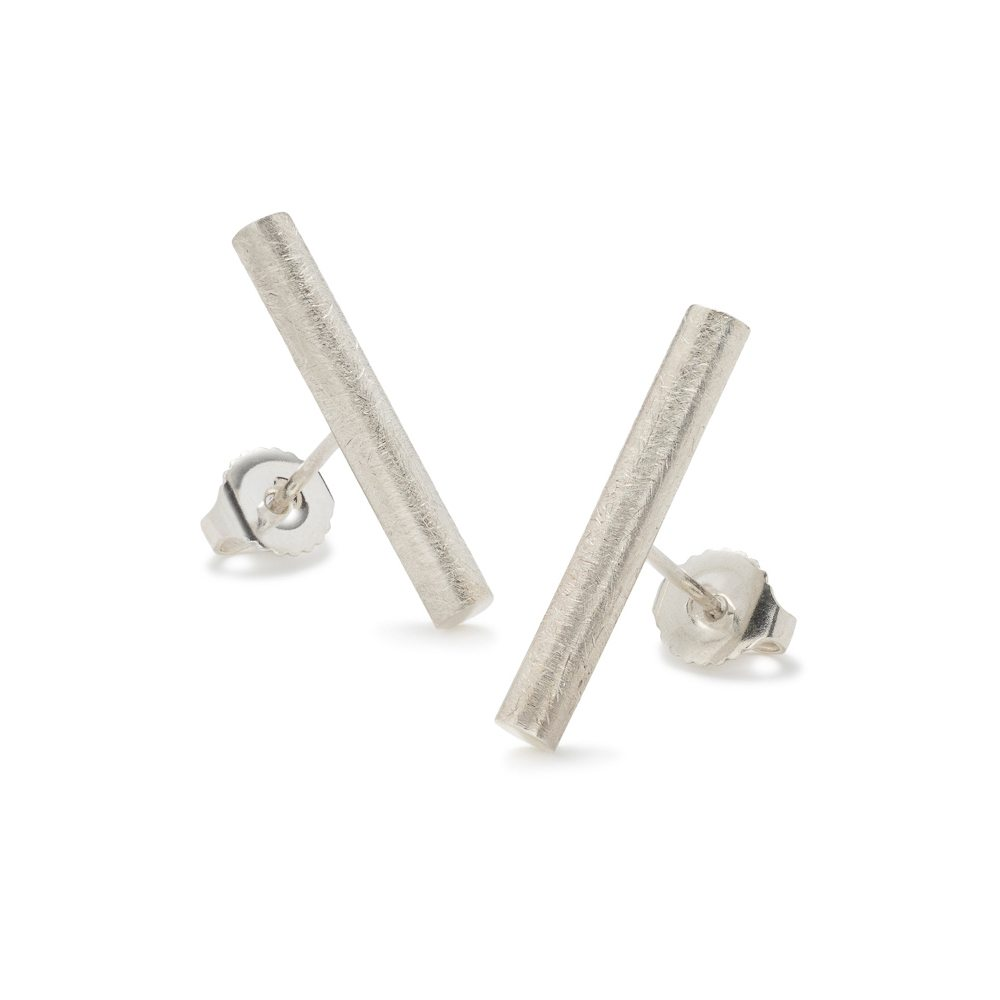 Silver swivel stud earrings