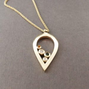 Gold Multistone Teardrop Pendant