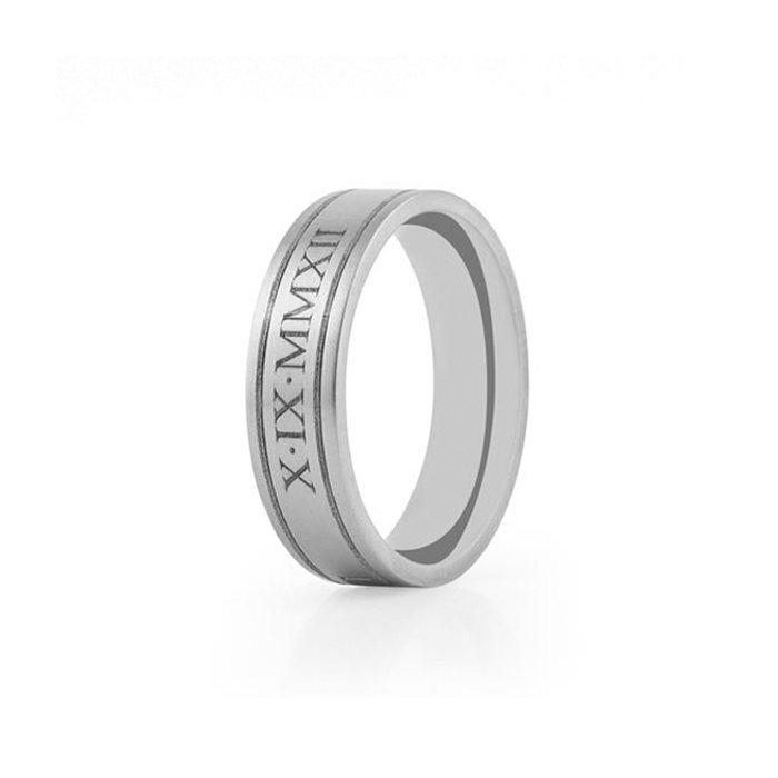men's Titanium wedding ring engraving - roman numerals