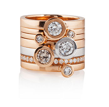 aurora rose gold and silver diamond stacking rings