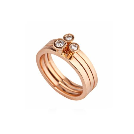 Aurora rose gold and diamond stacking rings -2
