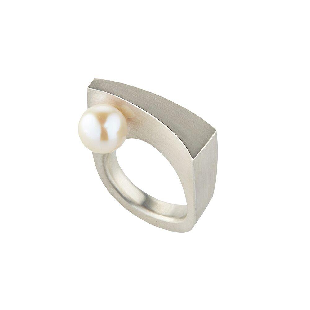 Balance ring silver - pearl - 2