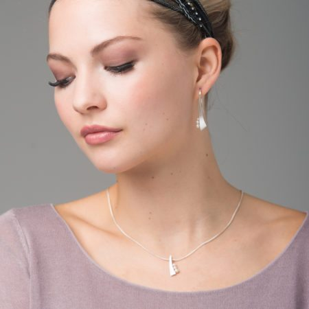 Balance silver pearl drop earrings and pendant
