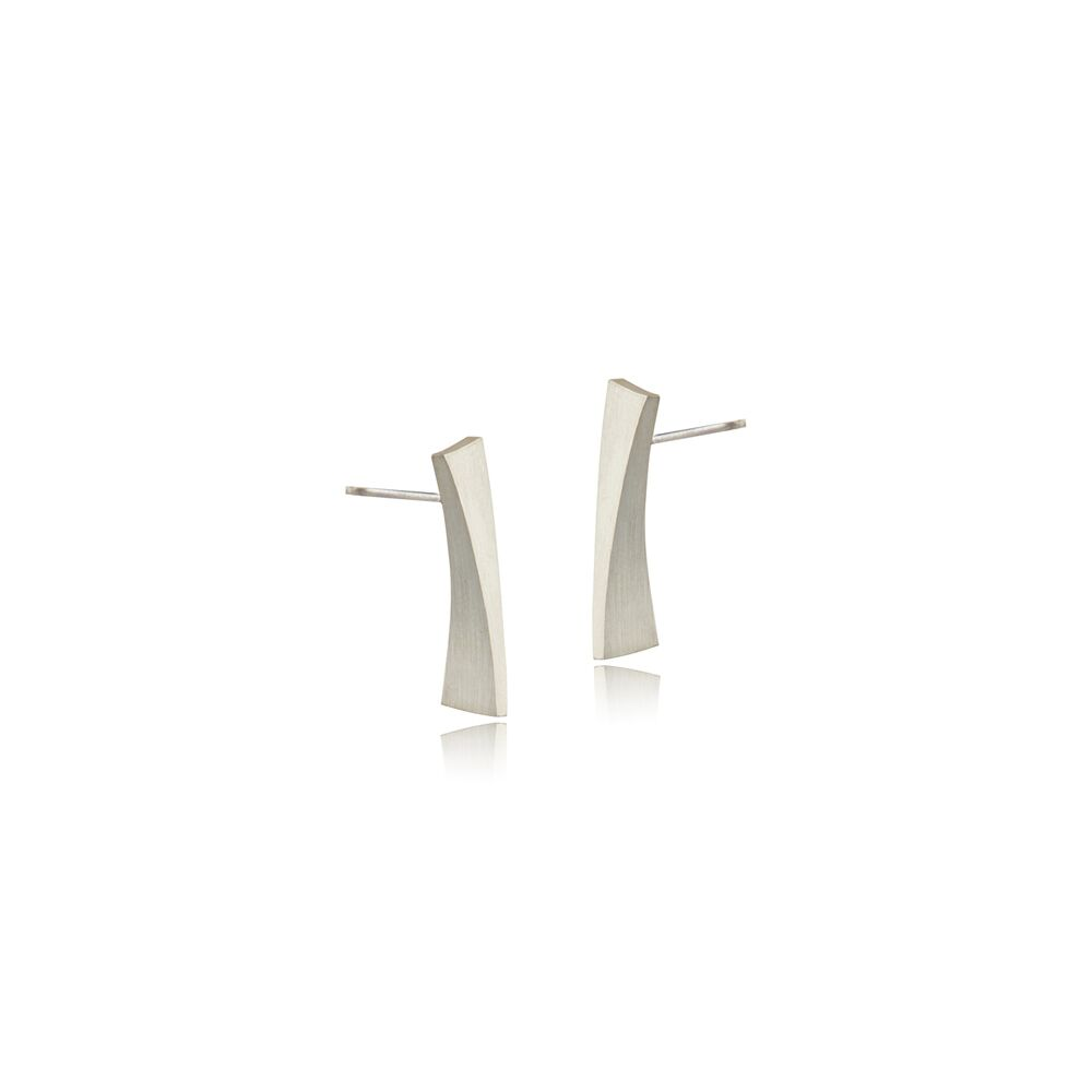 Balance long stud earrings - silver
