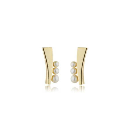 Balance long stud earrings with pearl - yellow gold