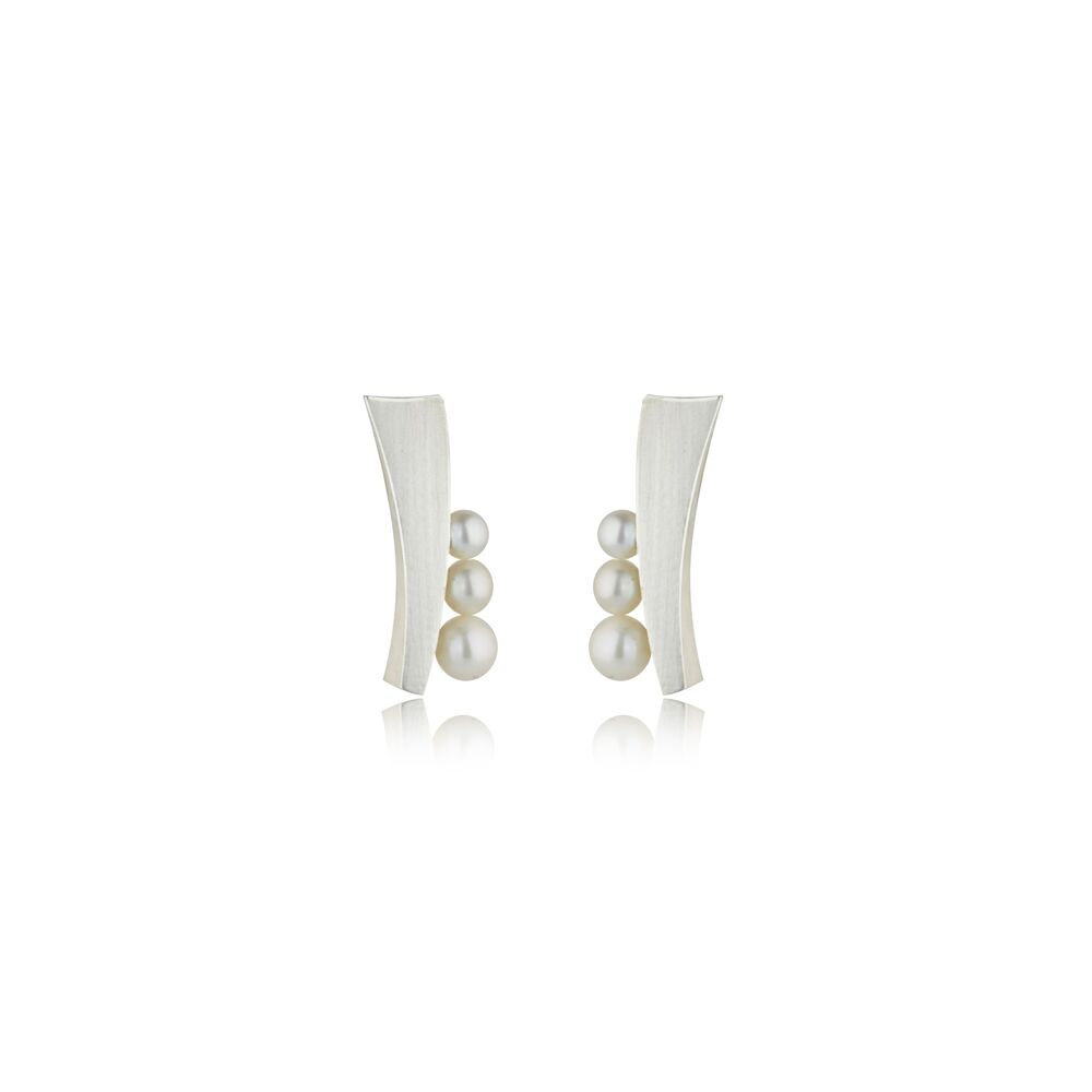 Balance long stud statement earrings with pearl - silver