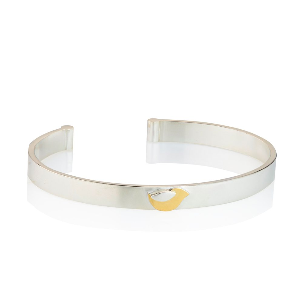 Birdie bangle yellow gold and silver bracelet