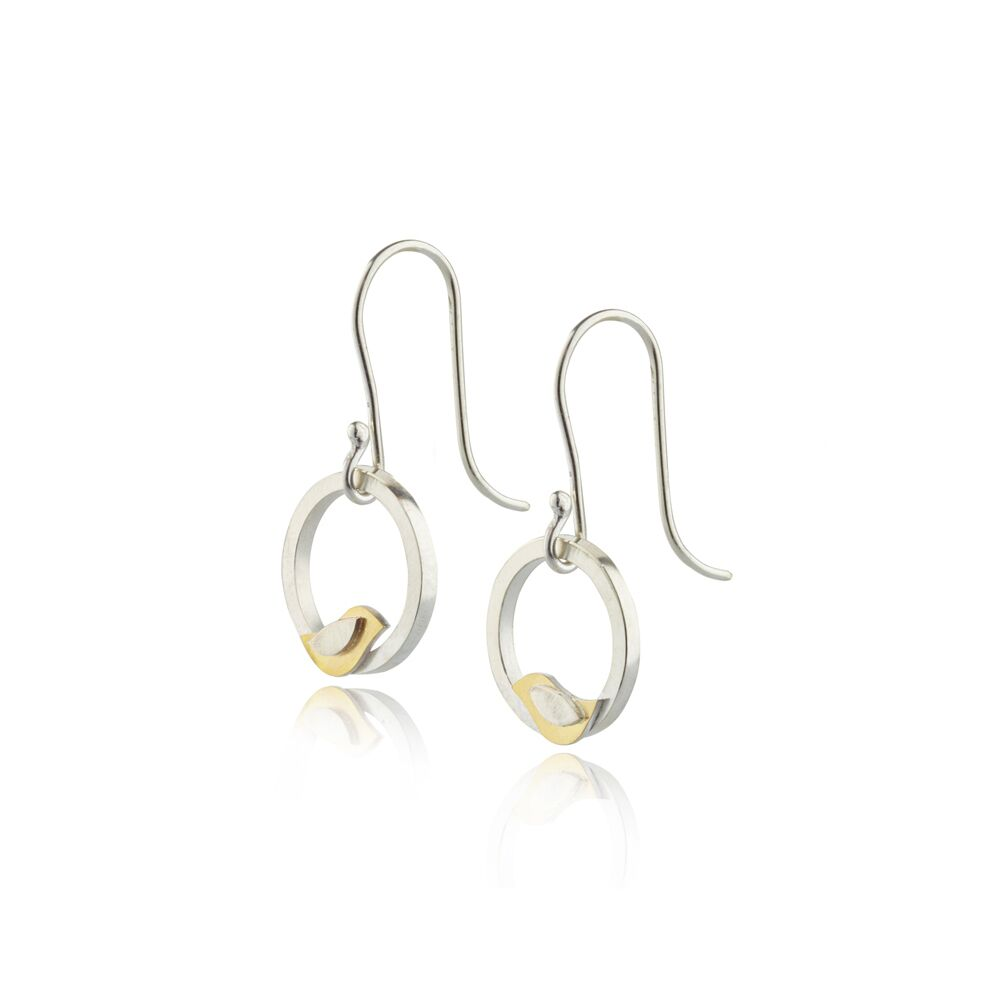 Birdie gold and silver bird drop earrings