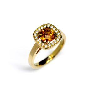 Yellow Citrine vienna halo engagement ring