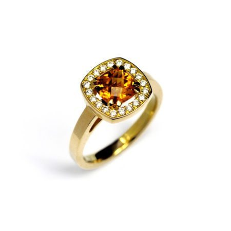 Yellow Citrine vienna halo engagement ring