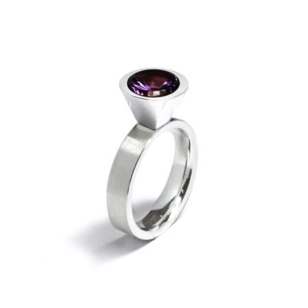 silver large Cocktail ring - amethyst