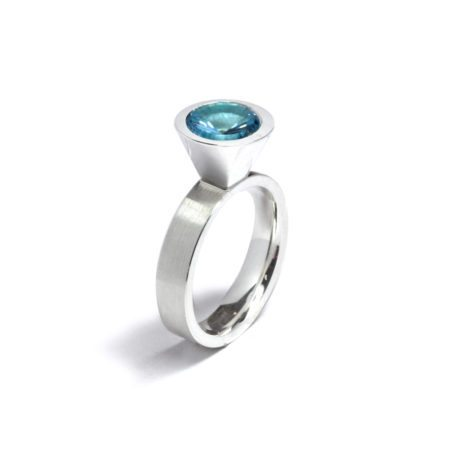 blue topaz silver large cocktail ring