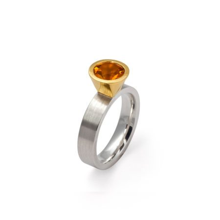 Cocktail ring - citrine - two tone