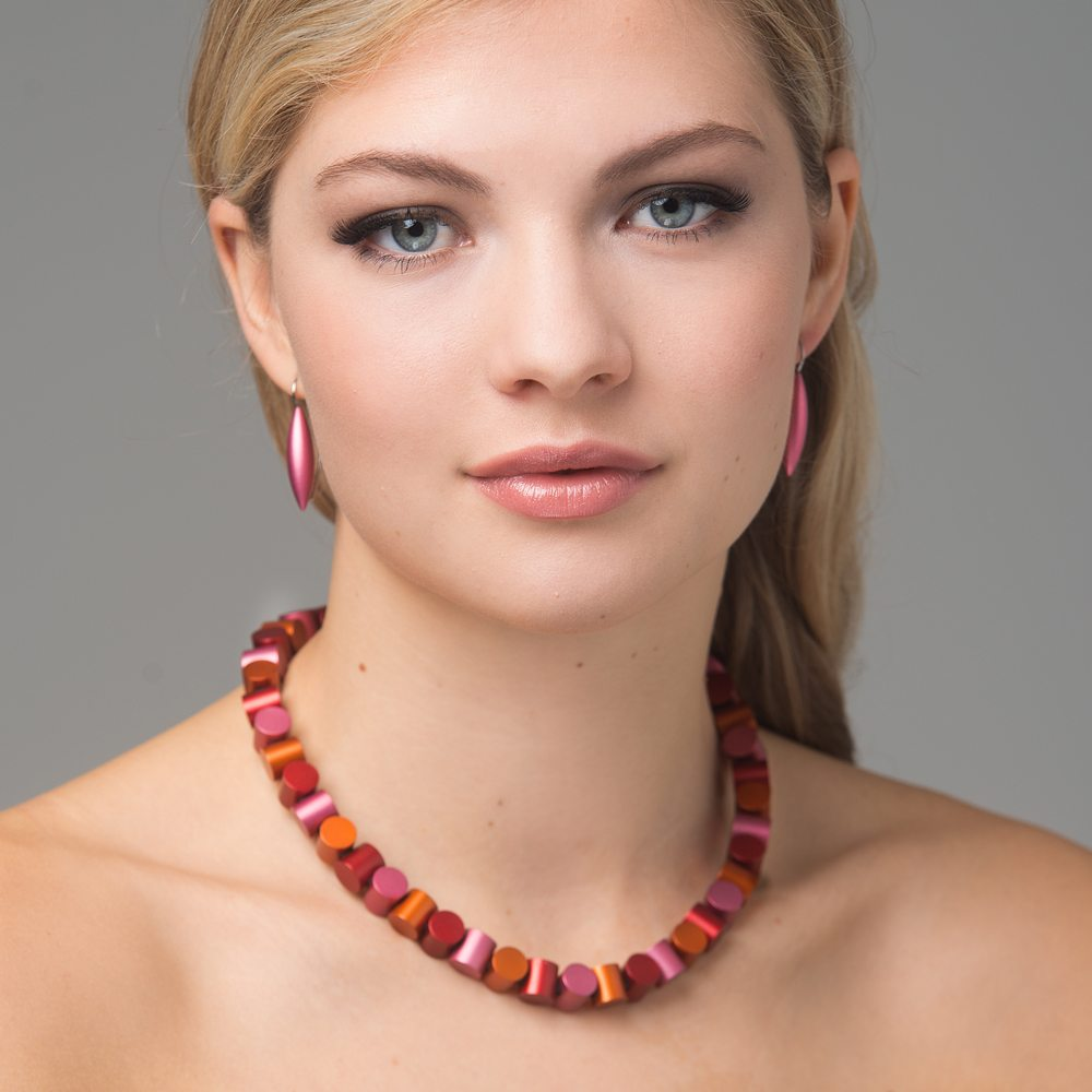 Cylinder neckpiece - blush, mango, red - Tulip drop earrings