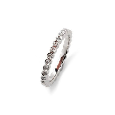 Diamond juliet round ring - white gold