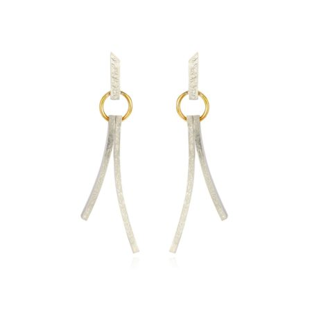 silver and gold modern textured drop earrings