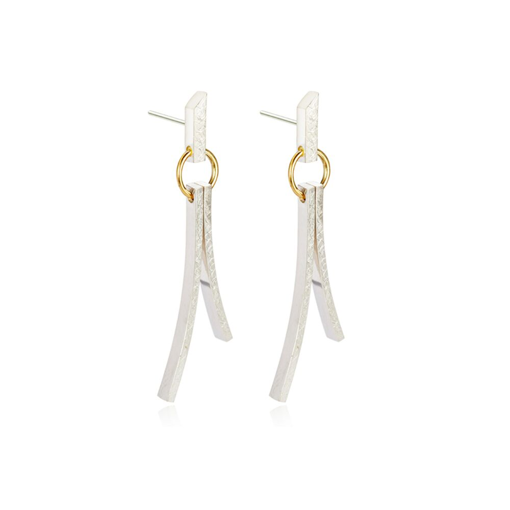 silver and gold contemporary textured drop earrings