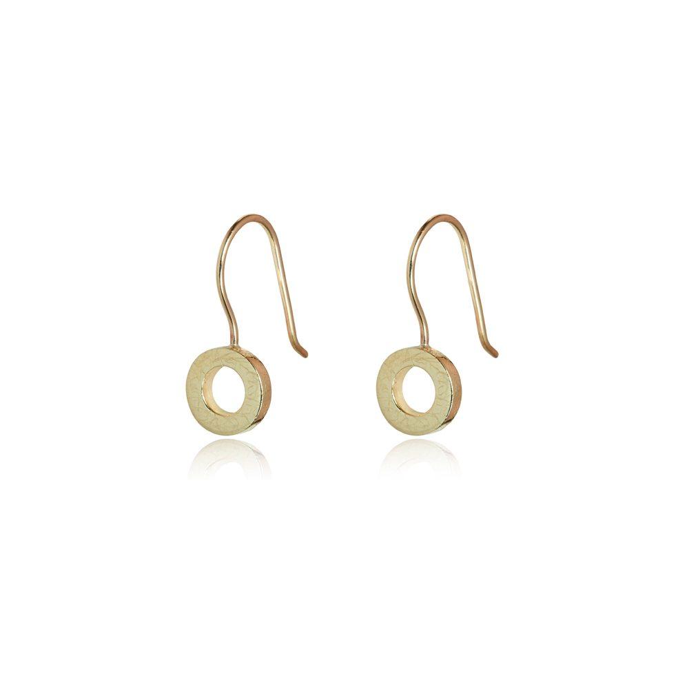 small Gold hoop drop earrings