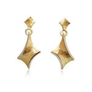 gold twist large dramatic drop earrings