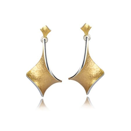 silver and gold twist large statement drop earrings