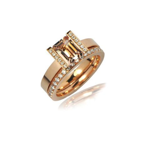 Morganite lika ring with diamonds 2