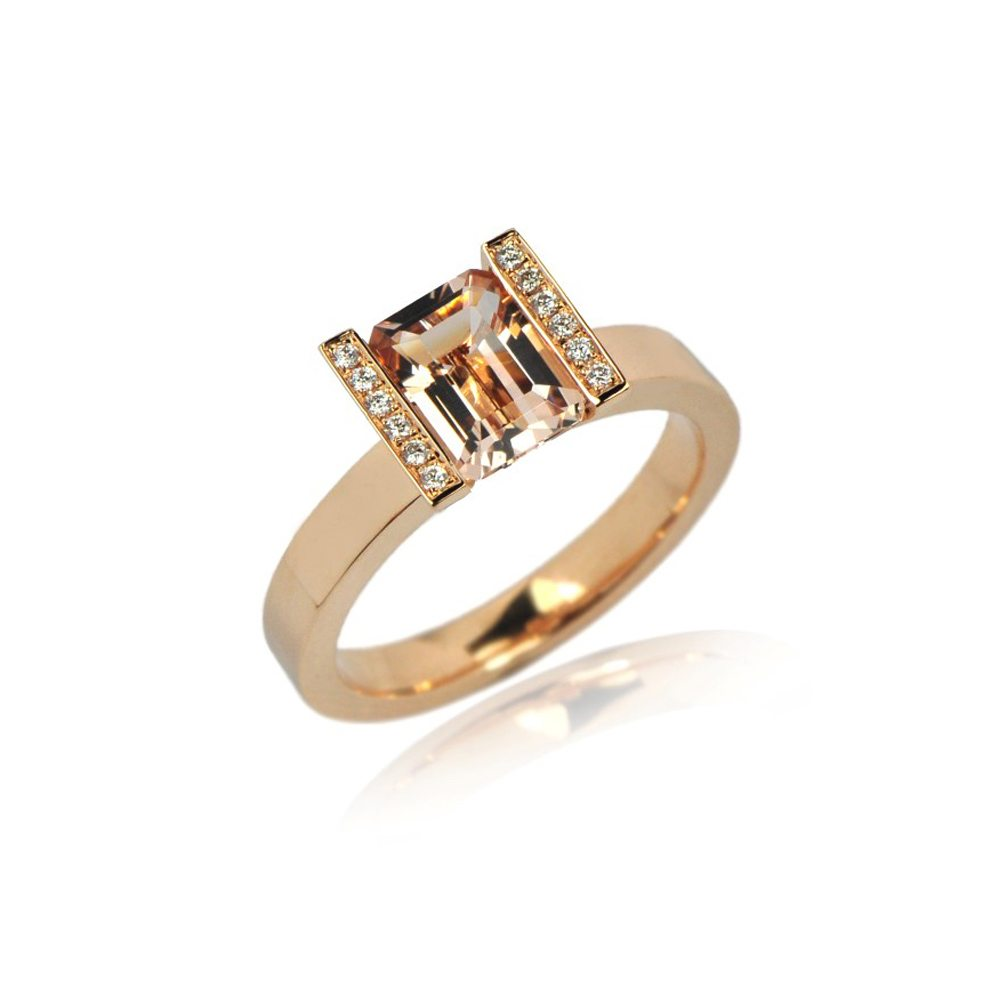 Morganite lika ring with diamonds