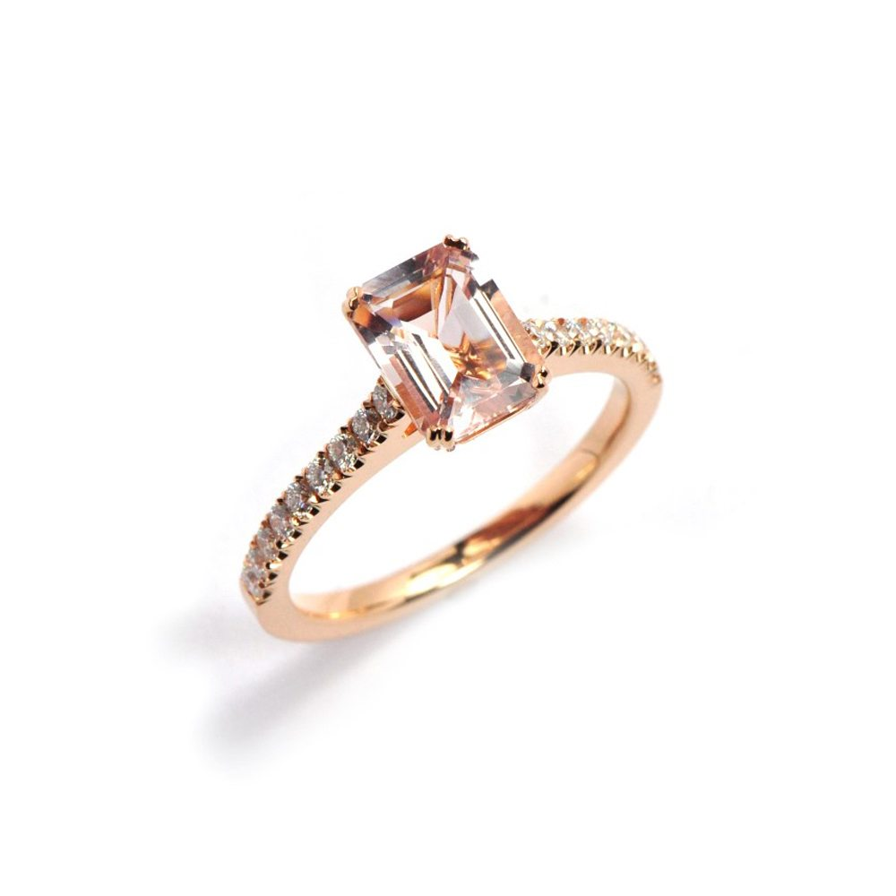 Morganite roseanne engagement ring with diamond pave