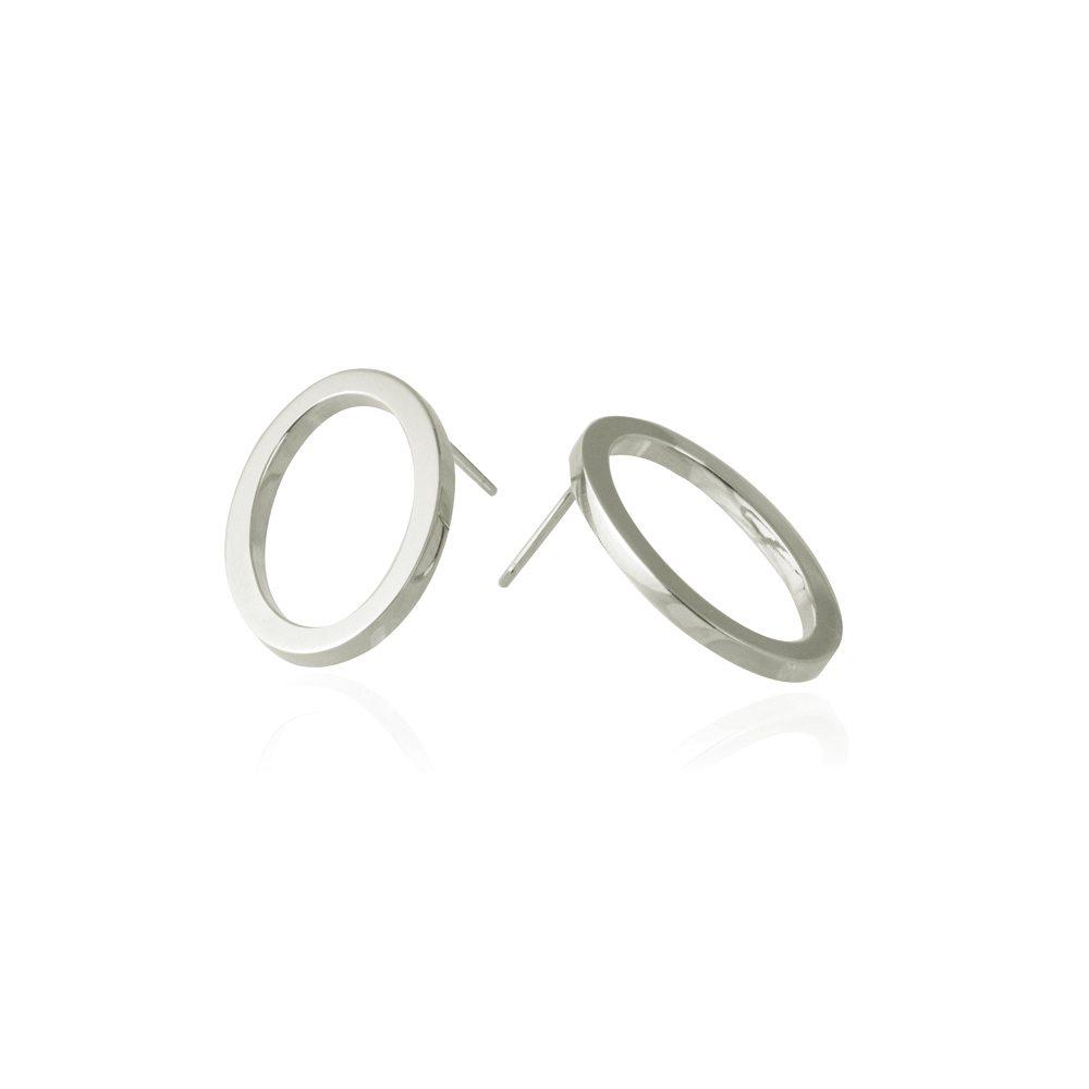 Oval earrings - large silver