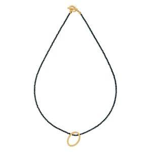 Oval necklace - black spinel -gold -2