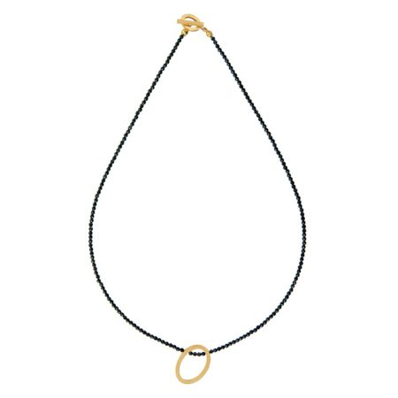 Oval necklace - black spinel -gold -2