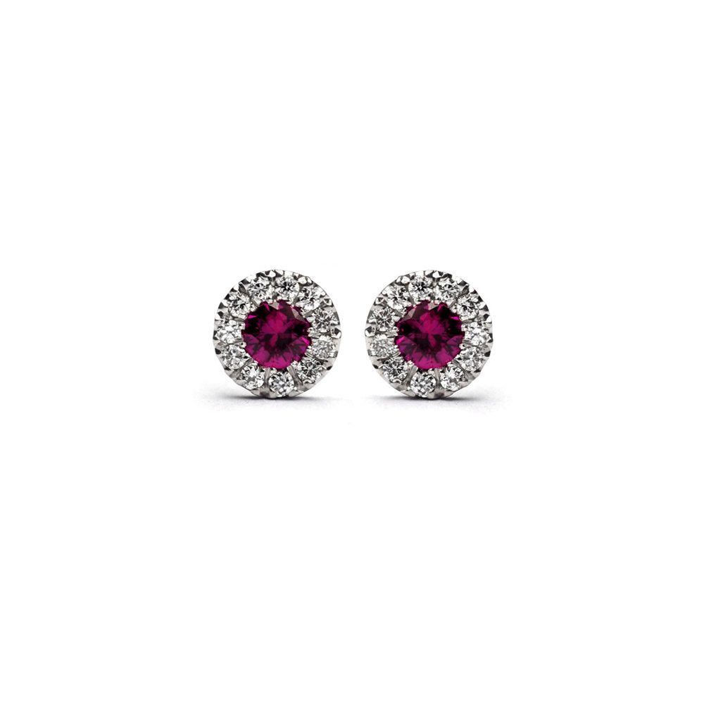 Pink sapphire flower earrings